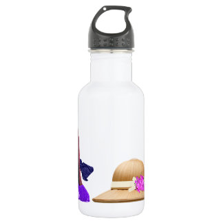 Blue Stiletto Shoes and Hat Art Stainless Steel Water Bottle