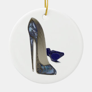 Blue Stiletto Shoes Art Ceramic Ornament