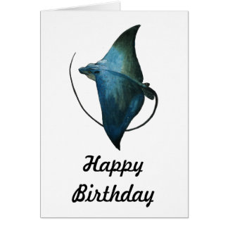 Blue Stingray Illustration Card