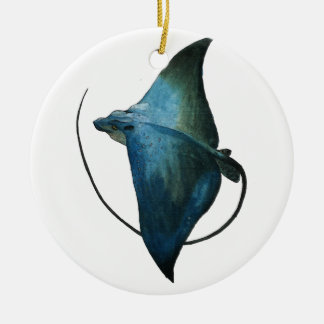 Blue Stingray Illustration Ceramic Ornament