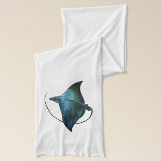 Blue Stingray Illustration Scarf