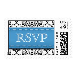 Blue Stitched Damask RSVP Postage Stamps