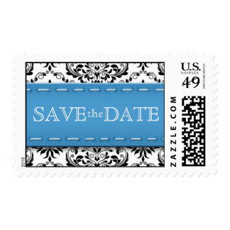 Blue Stitched Damask Save the Date Postage Stamps