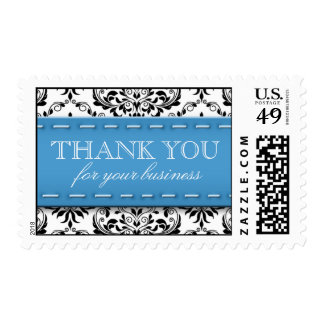 """Blue Stitched Damask """"Thank You for Your Business"""" Postage Stamp"""