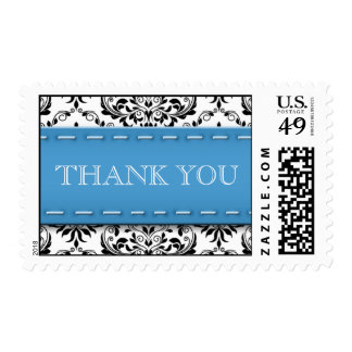Blue Stitched Damask Thank You Postage Stamps
