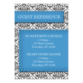 Blue Stitched Damask Wedding Guest Reference Cards