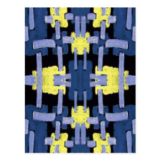 Blue Stitches Abstract Postcard