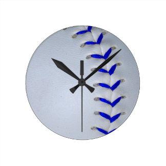 Blue Stitches Baseball / Softball Round Wallclocks