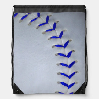 Blue Stitches Baseball / Softball Drawstring Bag