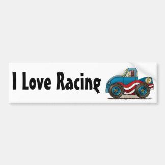 Blue Stock Car I Love Racing Bumper Sticker Car Bumper Sticker
