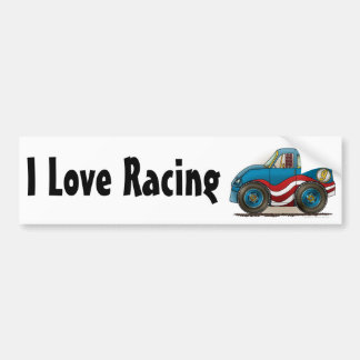Blue Stock Car I Love Racing Bumper Sticker