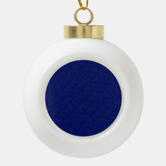 Blue Stockinette Ceramic Ball Christmas Ornament