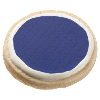 Blue Stockinette Round Shortbread Cookie