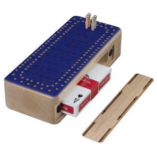 Blue Stockinette Wood Cribbage Board