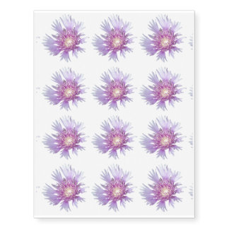 Blue Stokes Aster Flower Blossom Temporary Tattoos