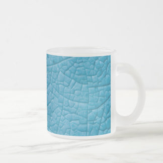 Blue stone cracks frosted glass coffee mug
