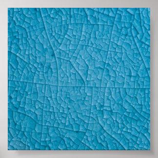 Blue stone cracks poster