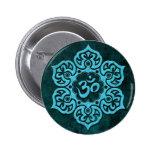 Blue Stone Floral Om 2 Inch Round Button