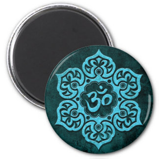 Blue Stone Floral Om 2 Inch Round Magnet