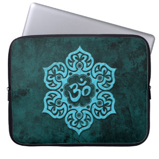 Blue Stone Floral Om Computer Sleeve