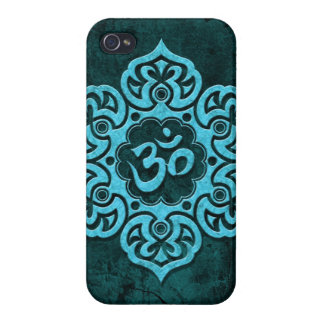 Blue Stone Floral Om iPhone 4/4S Cases