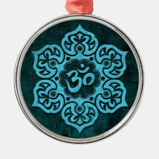 Blue Stone Floral Om Metal Ornament