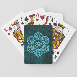 Blue Stone Floral Om Playing Cards
