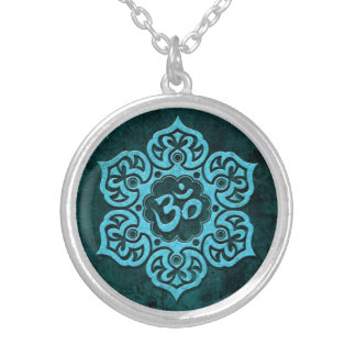 Blue Stone Floral Om Silver Plated Necklace