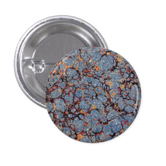 Blue Stone Marbled Paper 1 Inch Round Button