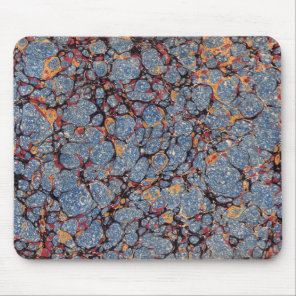 Blue Stone Marbled Paper Mouse Pad