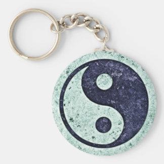 Blue Stone Yin Yang Basic Round Button Keychain