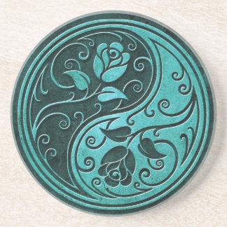 Blue Stone Yin Yang Roses Sandstone Coaster