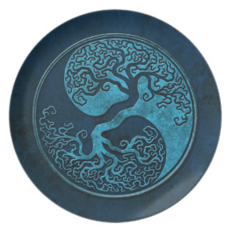 Blue Stone Yin Yang Trees Party Plate