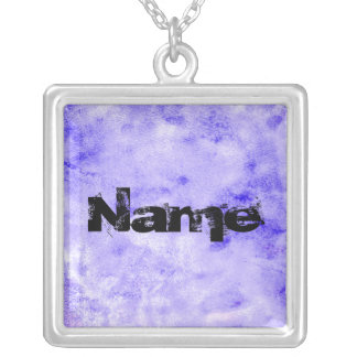 Blue Stonewashed Watercolor Background Painting Square Pendant Necklace