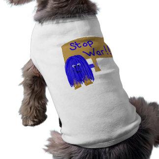 Blue stop war pet t shirt