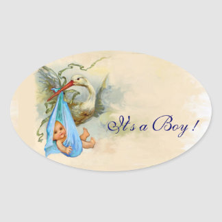 BLUE STORK BABY BOY SHOWER OVAL STICKER