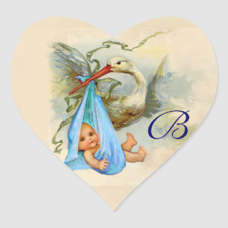 BLUE STORK BABY SHOWER HEART MONOGRAM , HEART STICKER