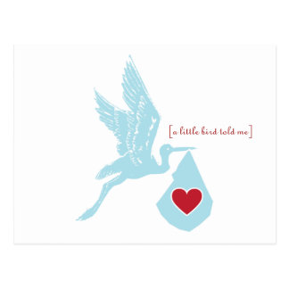 Blue Stork Baby Shower Invitation Postcard