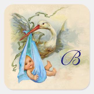 BLUE STORK BABY SHOWER MONOGRAM SQUARE STICKER
