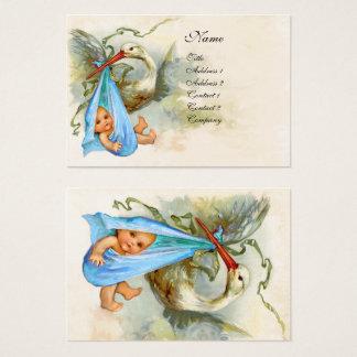 BLUE STORK BABY SHOWER White Pearl Shimmer Business Card