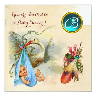 BLUE STORK BOY BABY SHOWER,GEMSTONE MONOGRAM CARD