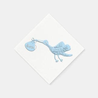 Blue Stork Delivering Boy Napkin