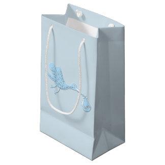 Blue Stork Delivering Boy Small Gift Bag