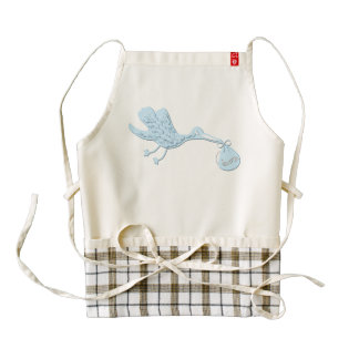 Blue Stork Delivering Boy Zazzle HEART Apron