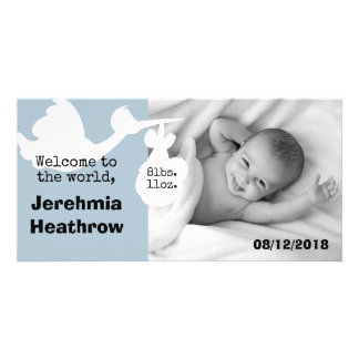 Blue Stork Welcome To The World Baby Arrival Card