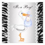 Blue Stork Zebra Baby Shower Invitations
