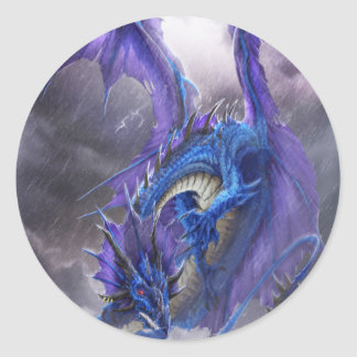 Blue Storm Dragon Classic Round Sticker