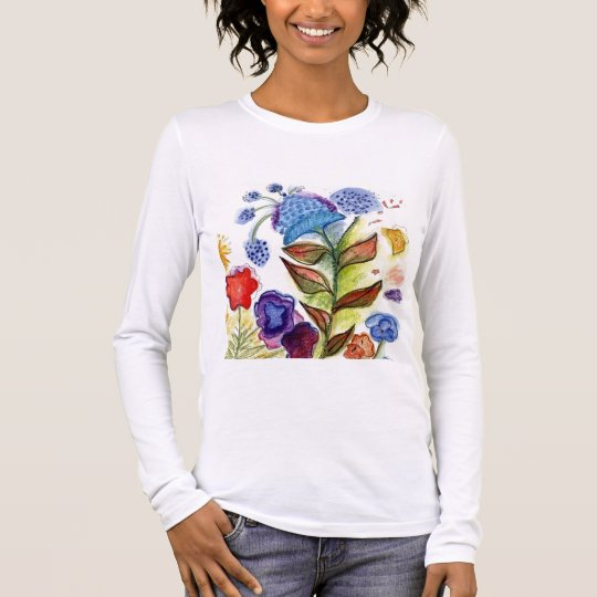 Blue strange Flower Long Sleeve T-Shirt