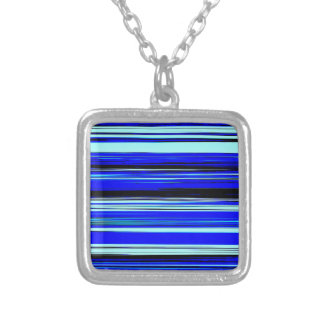 BLUE STRATA (an abstract art design) ~ Square Pendant Necklace