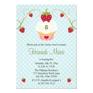 "Blue Strawberry Cupcake Birthday Photo Invitation 5"" X 7"" Invitation Card"